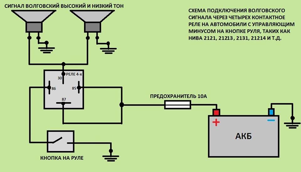 Схема воздушного сигнала через реле 810